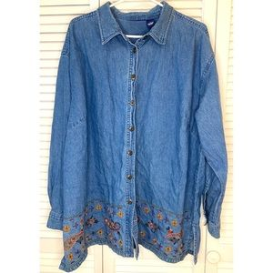 Paisley Embroidery Denim Button Up